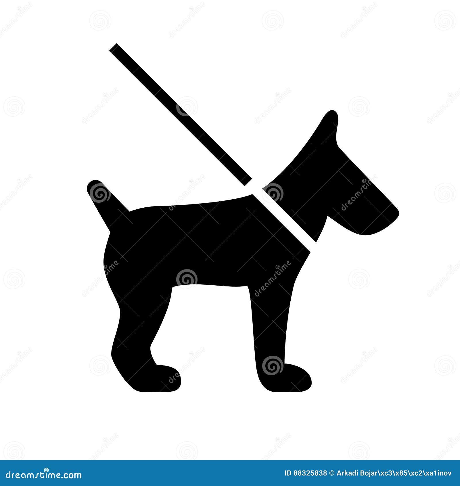 Dog on leash vector icon