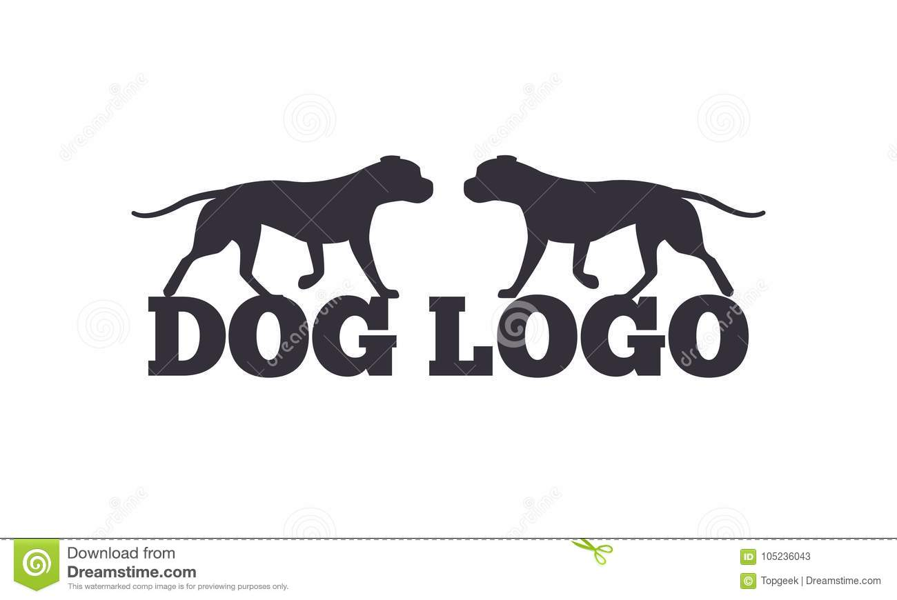 Dog Logo Design Two Canine Animals Silhouettes