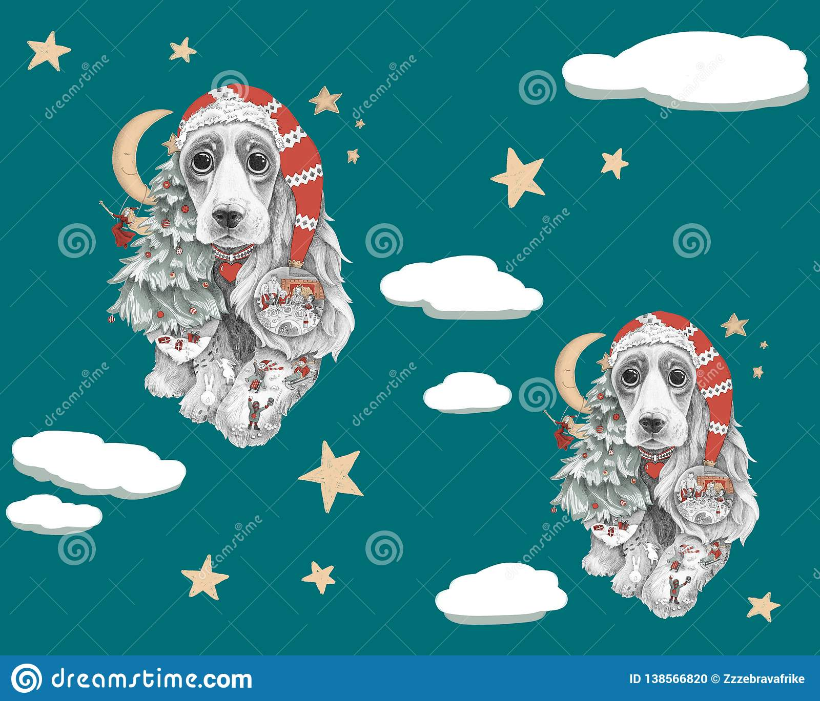 Dog with long ears in a red hat with stars around