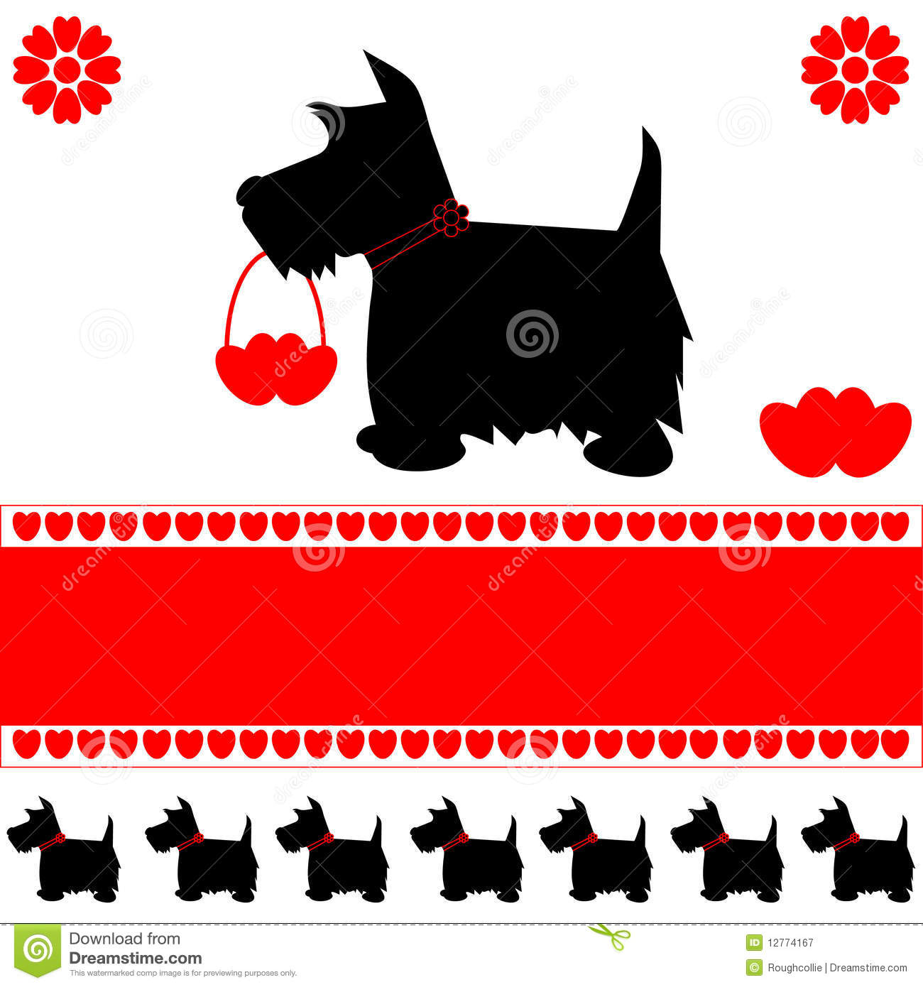 Dog love hearts card stock vector. Illustration of icons - 12774167