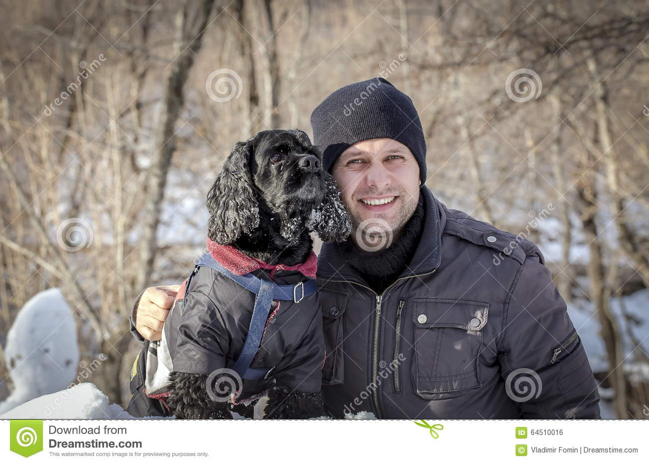 A dog and a man.