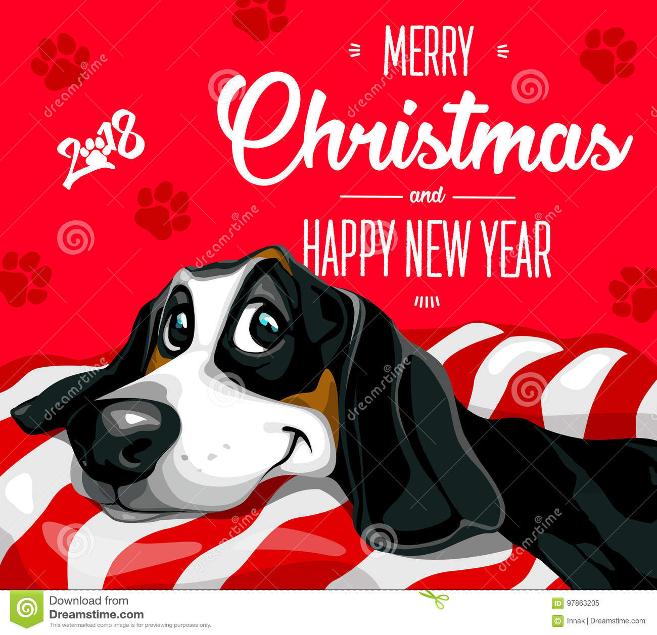 merry christmas and a happy new year 2018 happy funny puppy - Funny Merry Christmas