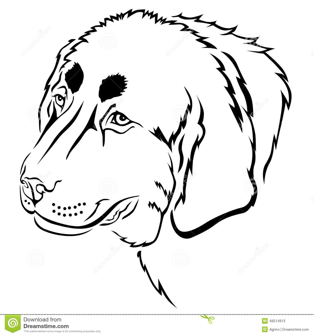 Contour Line Drawing Dog : Dog muzzle contour stock vector image