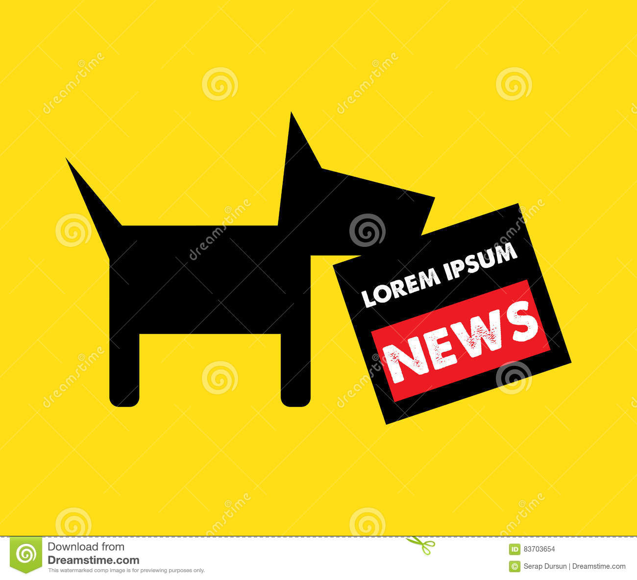 Dog And Newspaper Logo Concept Stock Vector