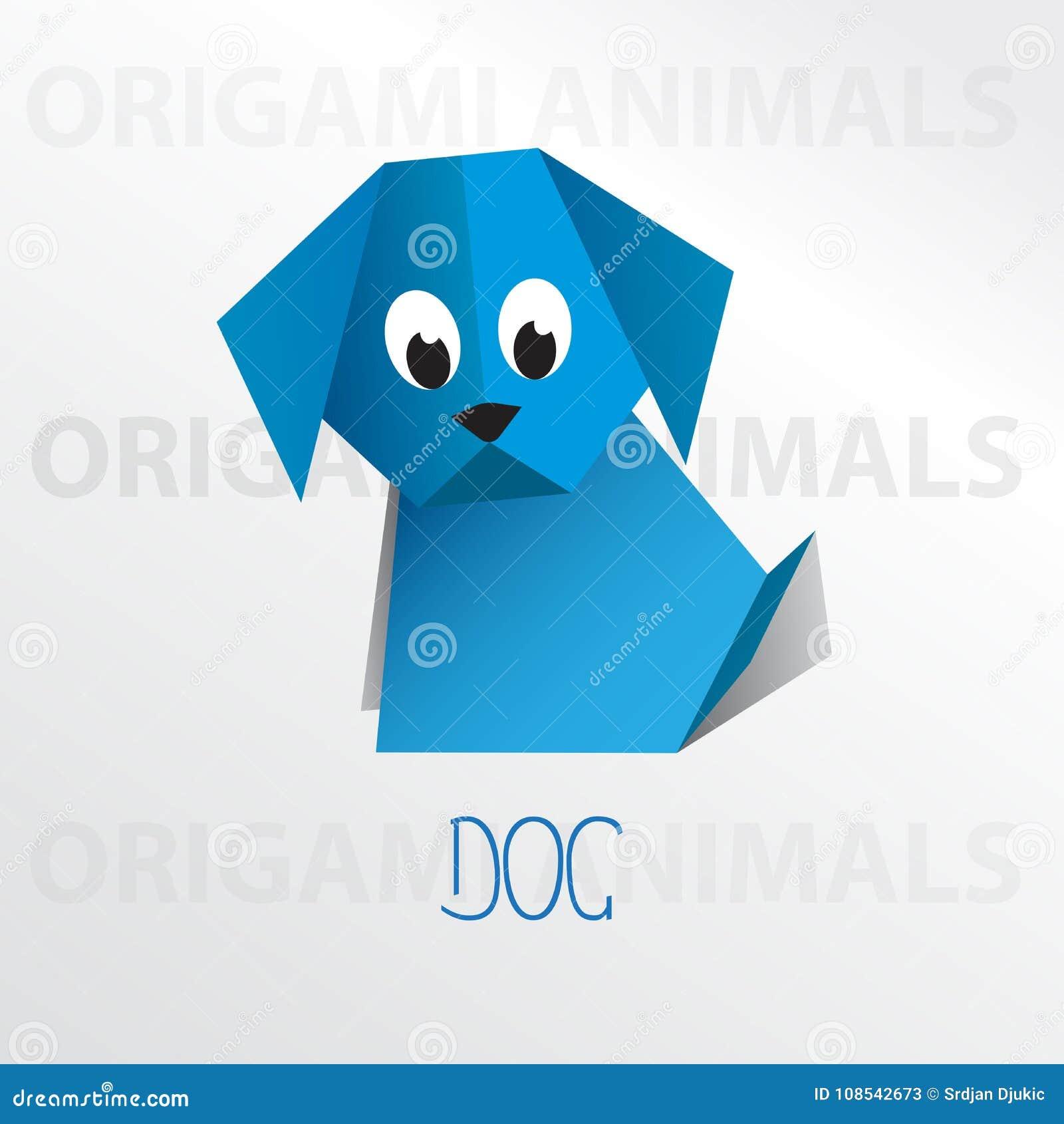 Dog origami paper art illustration