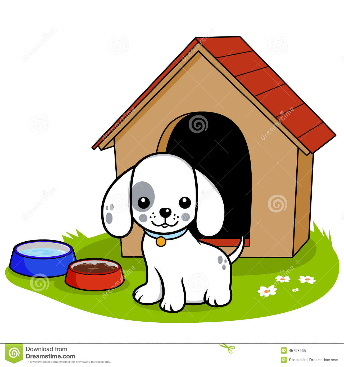 dog outside doghouse standing his 45798665
