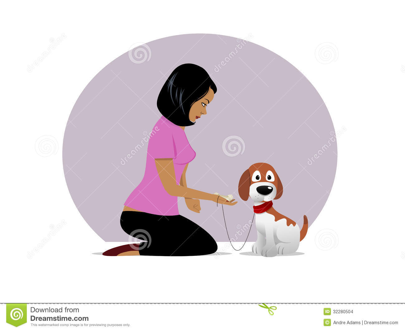 Dog Owner Treat Tempting 02 Stock Images Image 32280504