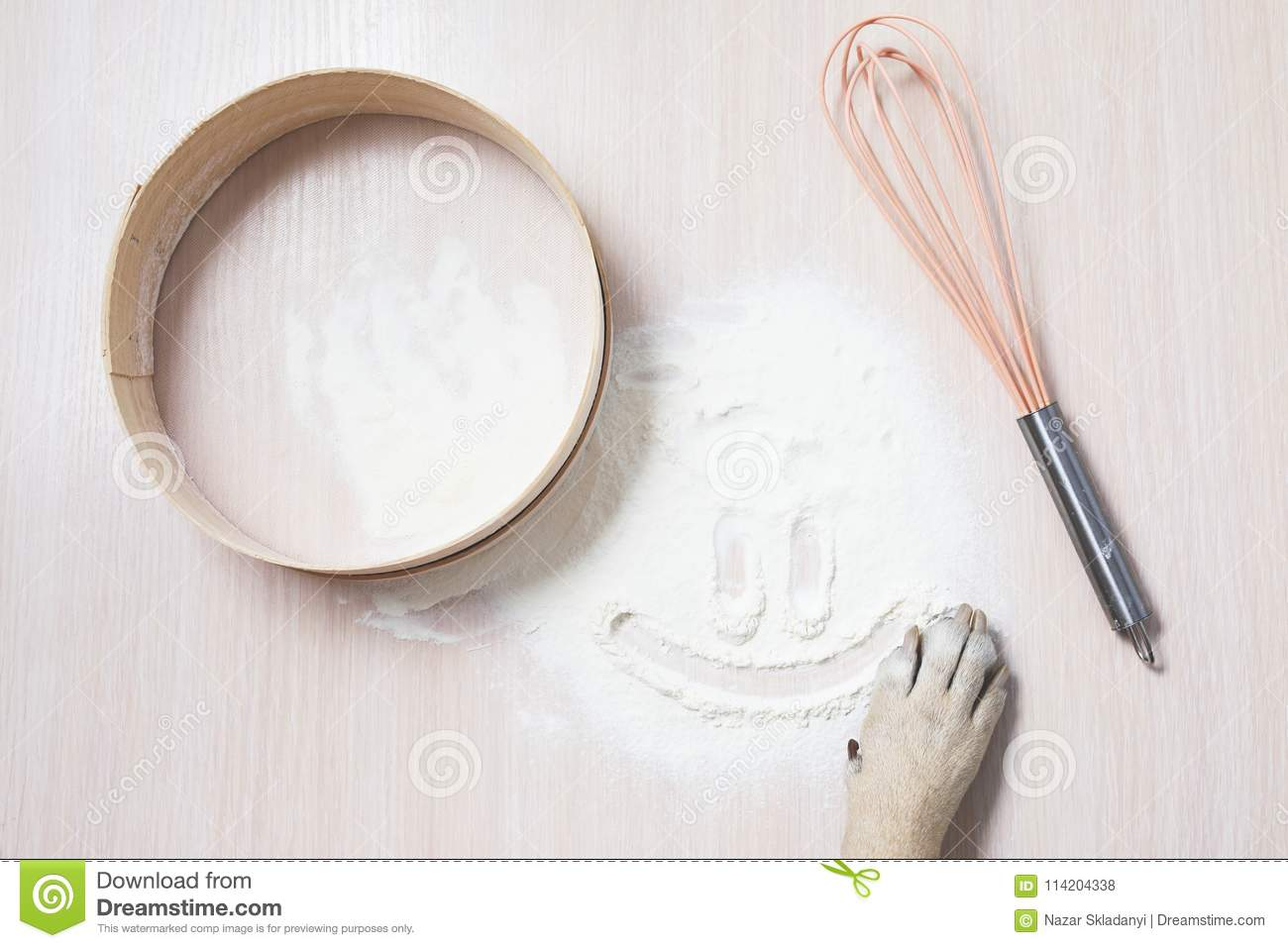 Dog Paw Draw Smiley On Flour On The Table Stock Photo Image Of