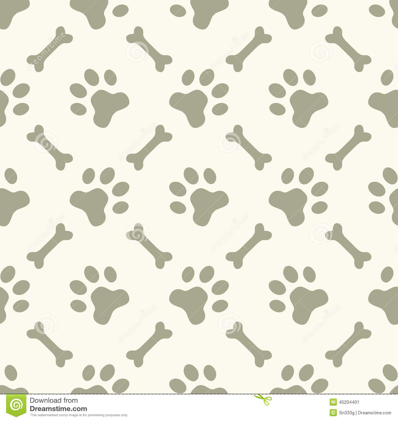 Dog Paw Footprint Seamless Pattern Stock Vector Image