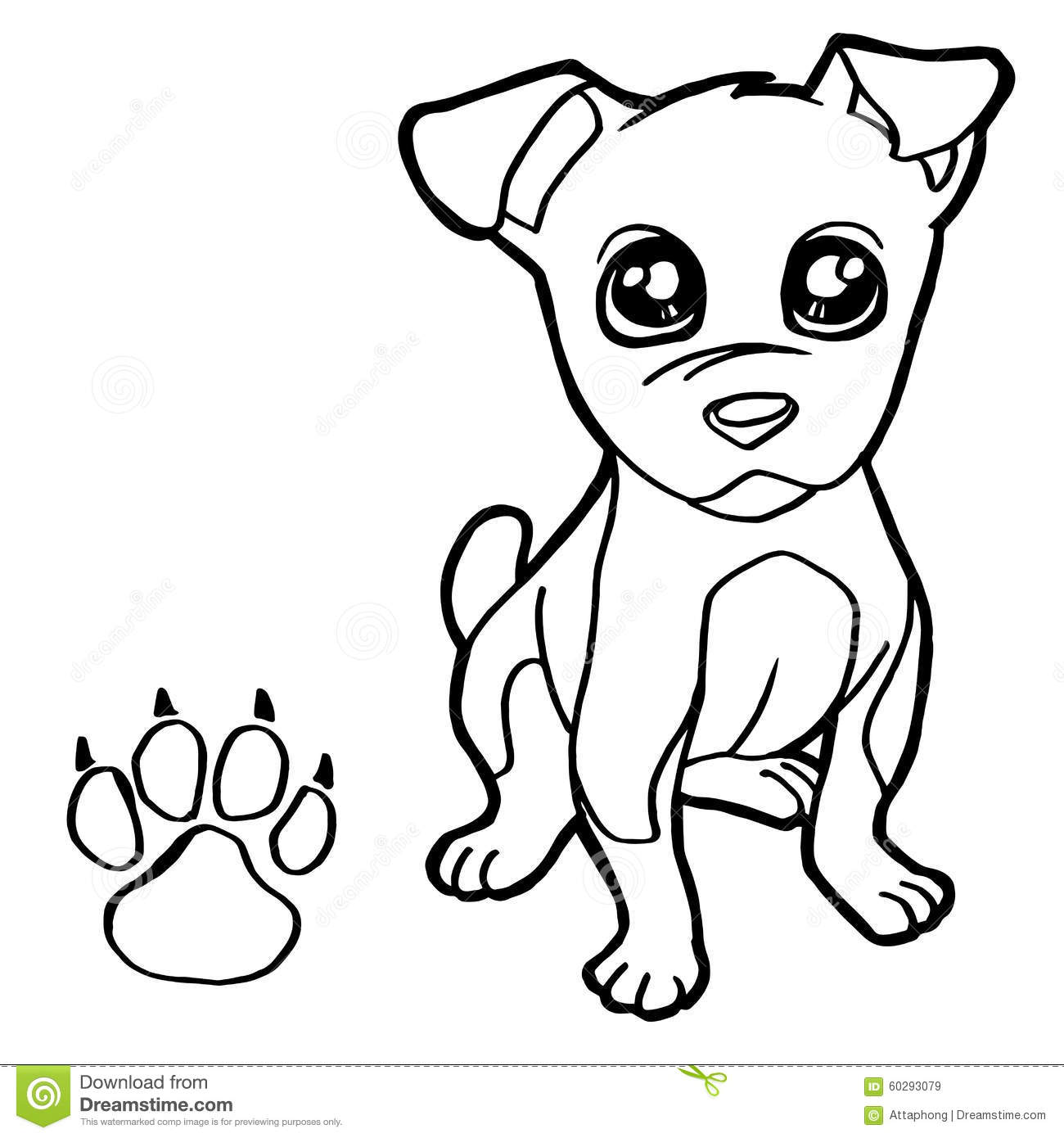 Dog With Paw Print Coloring Pages Vector Stock Vector Coloring Pages Vector