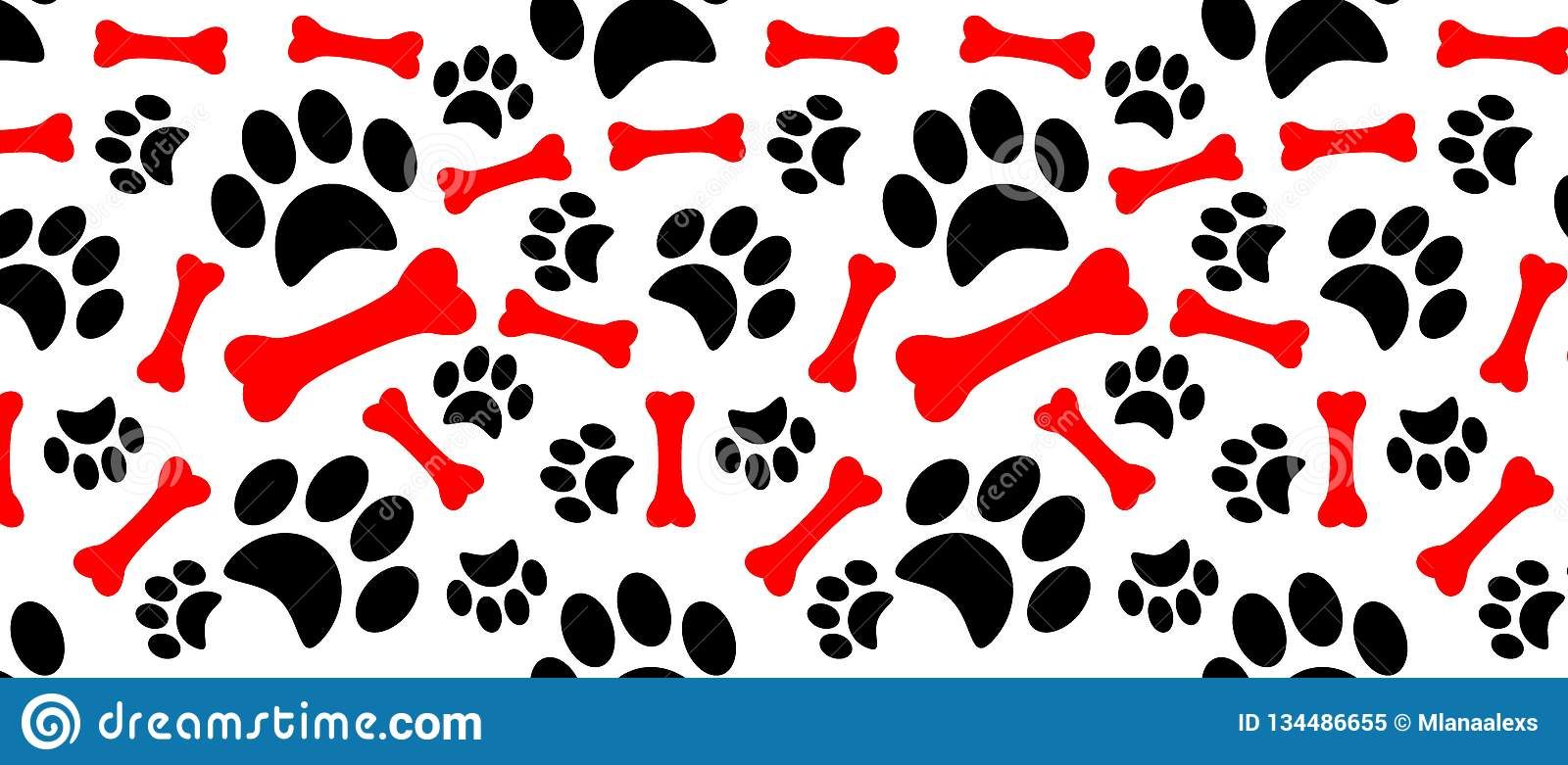Dog Paw Print Trails And Candy Cane In Shape Of Bone Stock