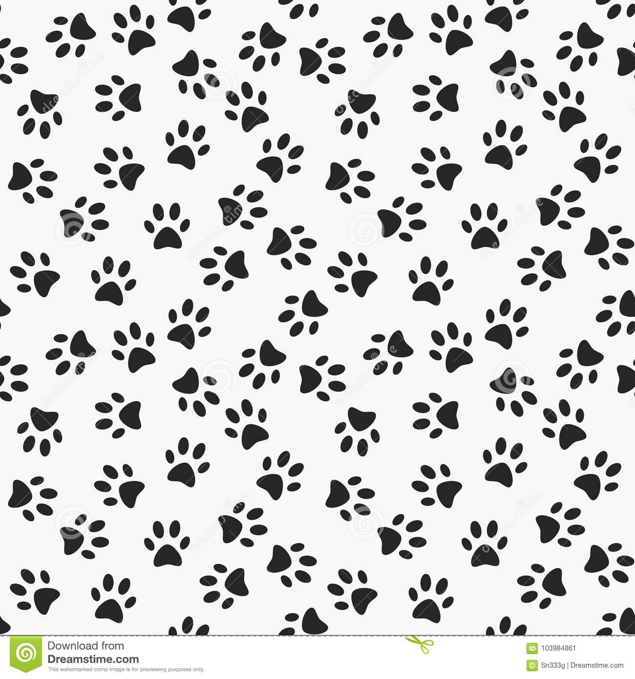 Dog Paw Print Vector Seamless Pattern Stock Vector - Illustration of