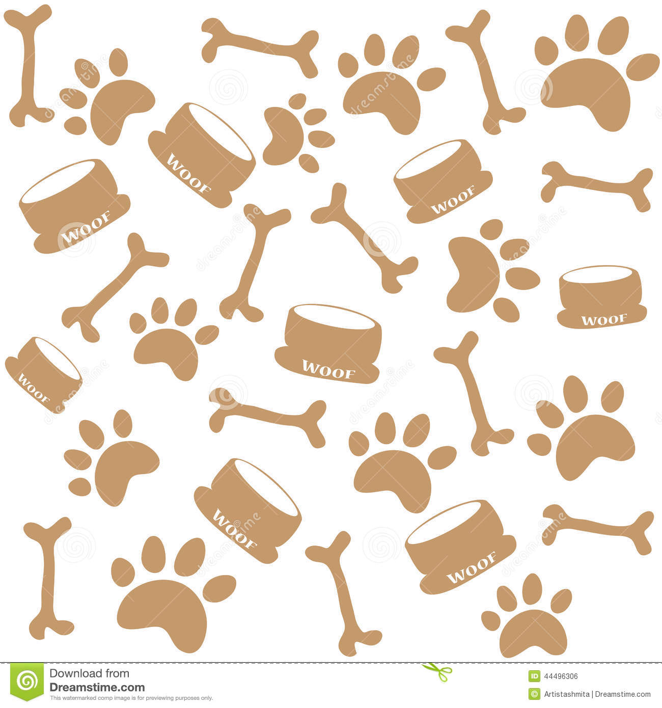Dog Paw Prints Stock Vector Image 44496306