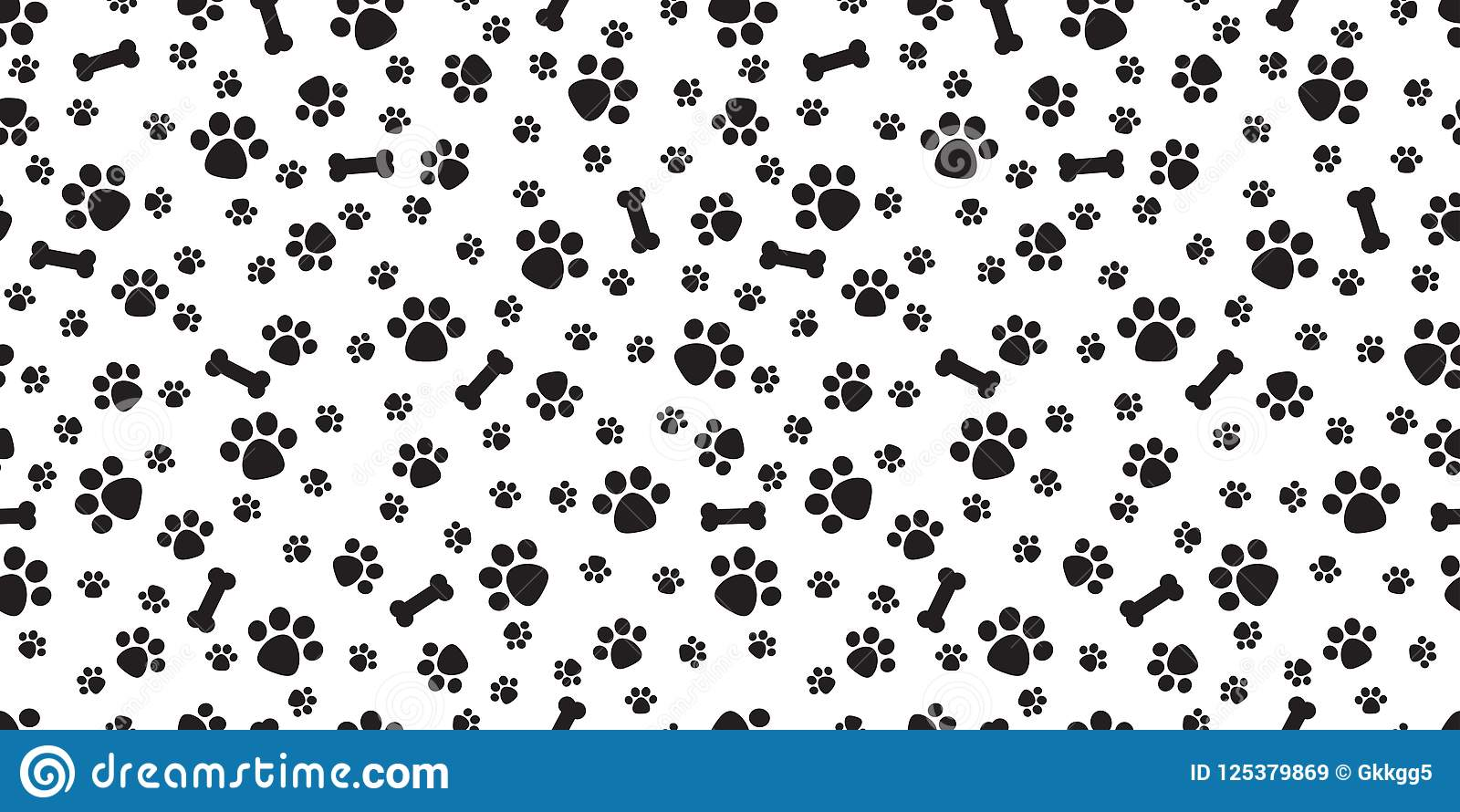 Dog Paw Seamless Pattern Vector Bone Isolated Puppy Cat Wallpaper Background White