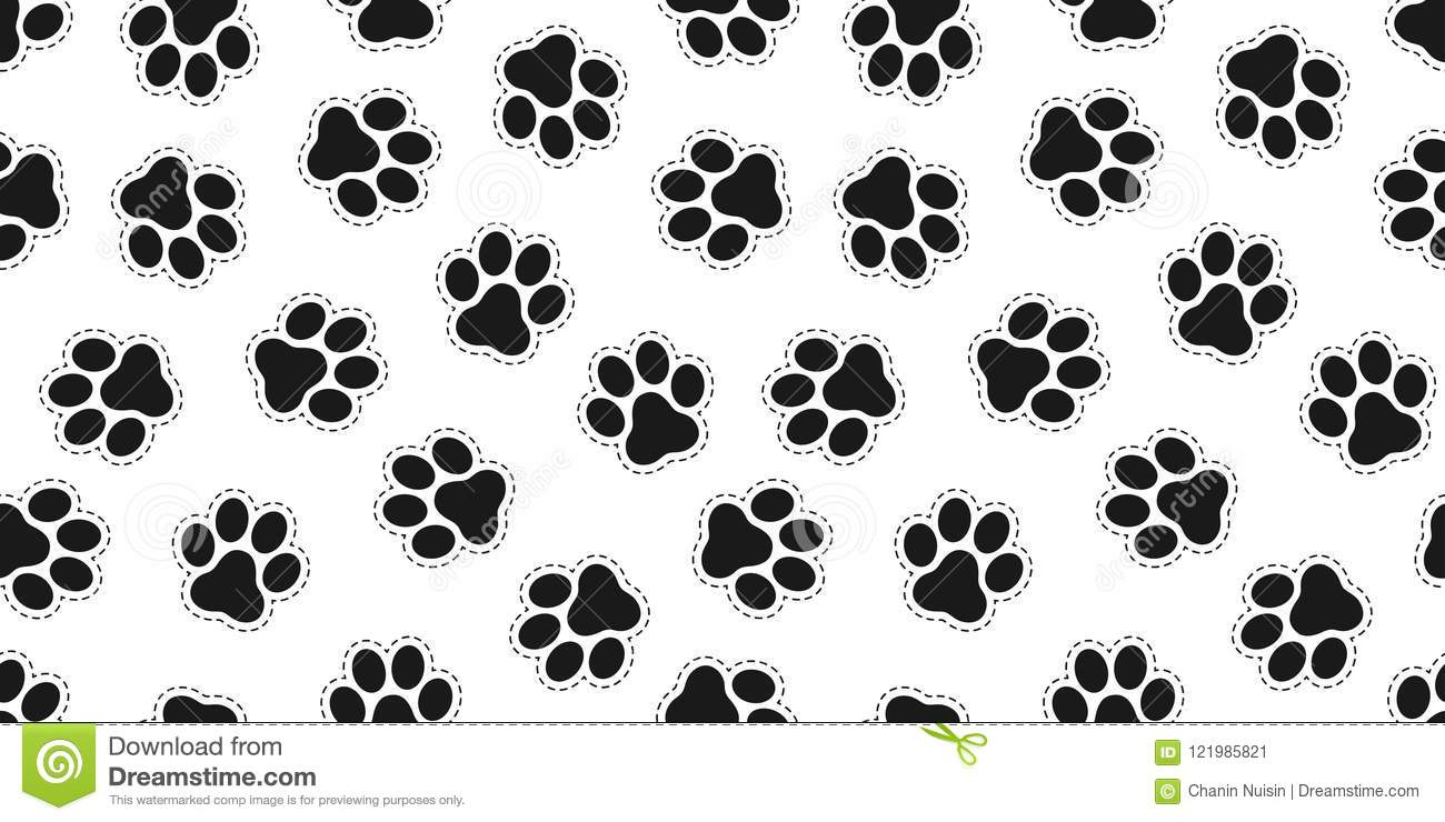 Dog Paw Seamless Pattern Vector Cat Paw Bear Isolated Wallpaper