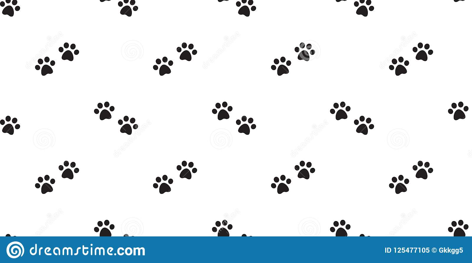 Dog Paw Seamless Pattern Vector Cat Footprint Isolated Repeat Background Wallpaper