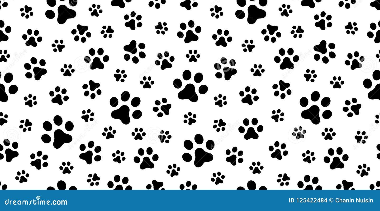 Dog paw seamless pattern vector cat paw foot print - Dog print wallpaper ...