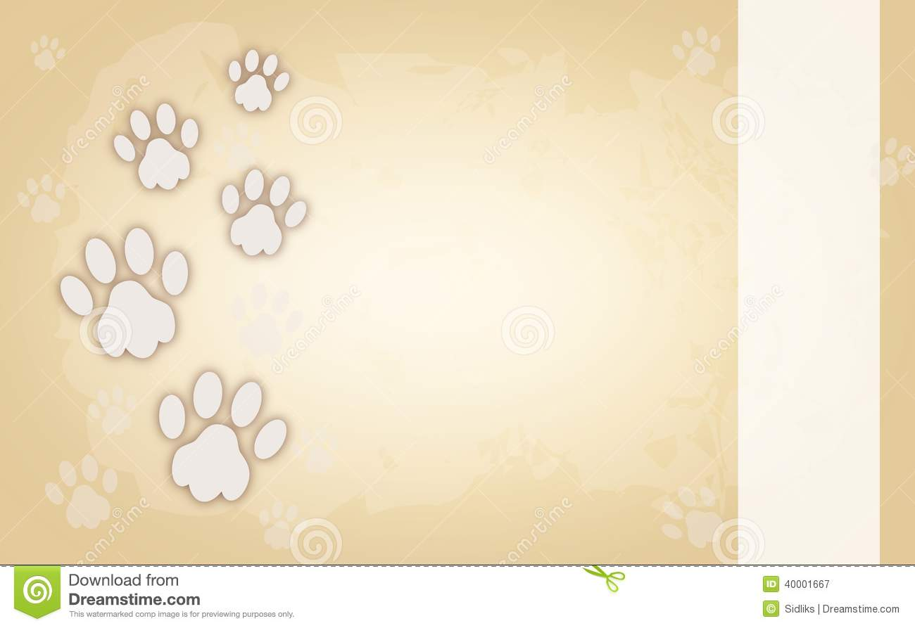 dog paws on light brown background stock illustration