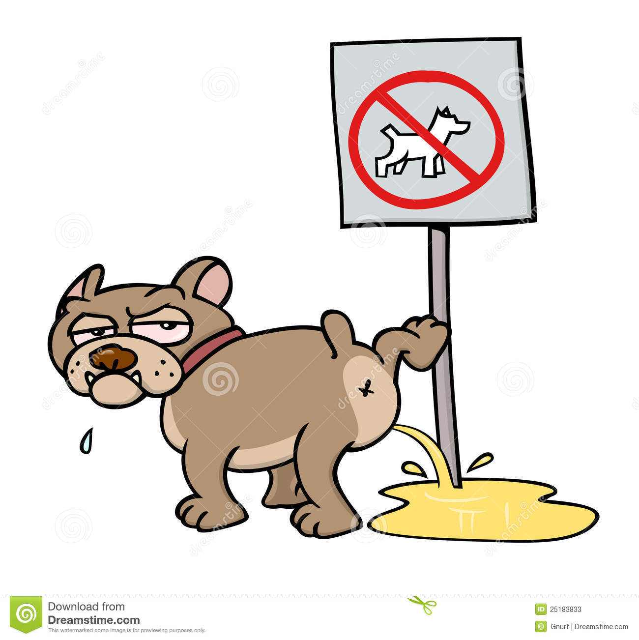 Dog Peeing On No Dogs Sign Stock Vector Illustration Of