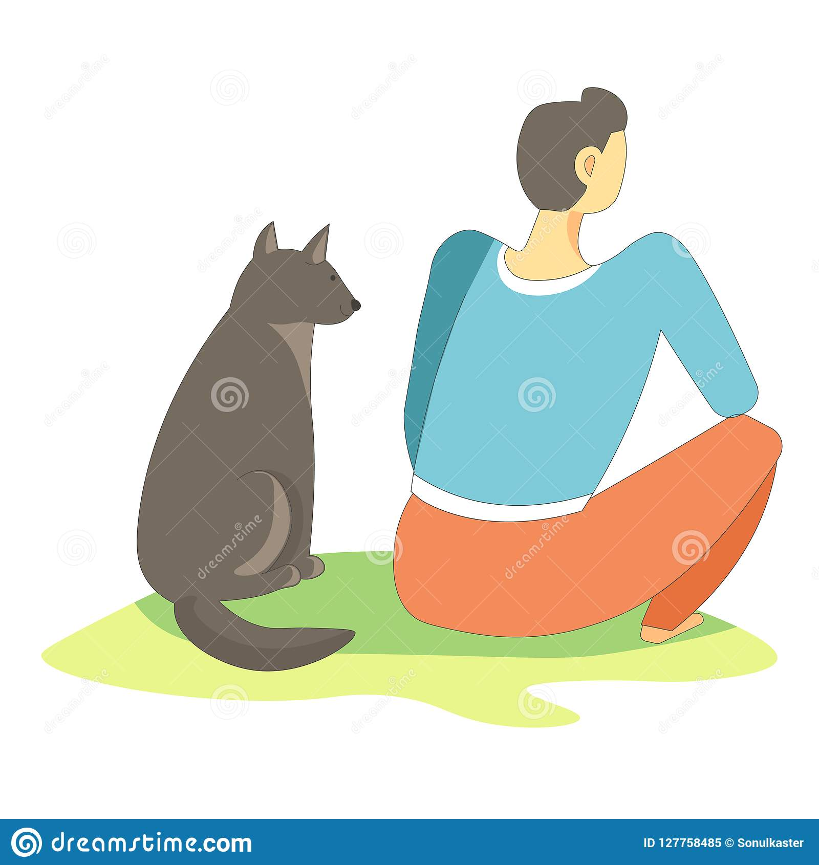 Dog pet sitting with owner full in thoughts vector