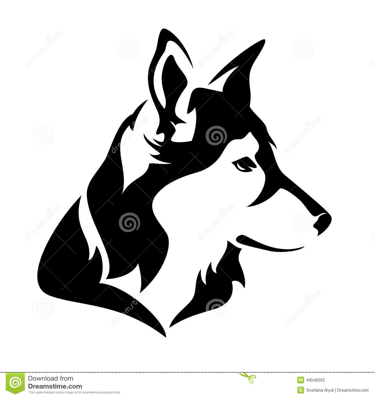 Dog profile head - black and white vector animal.