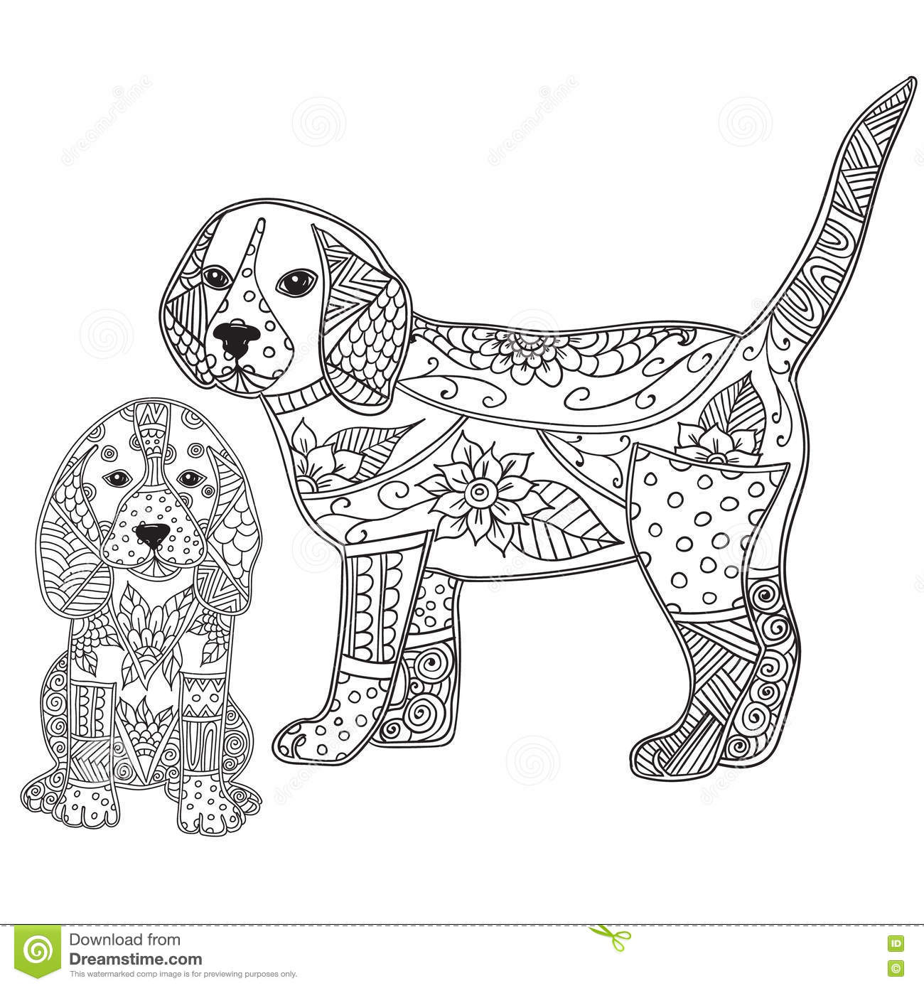 Dog And Puppy Adult Antistress Or Children Coloring Page. Stock ...