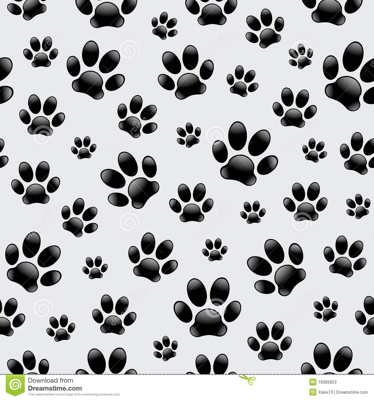 Dogs Footprints Seamless Pattern Stock Photos Image