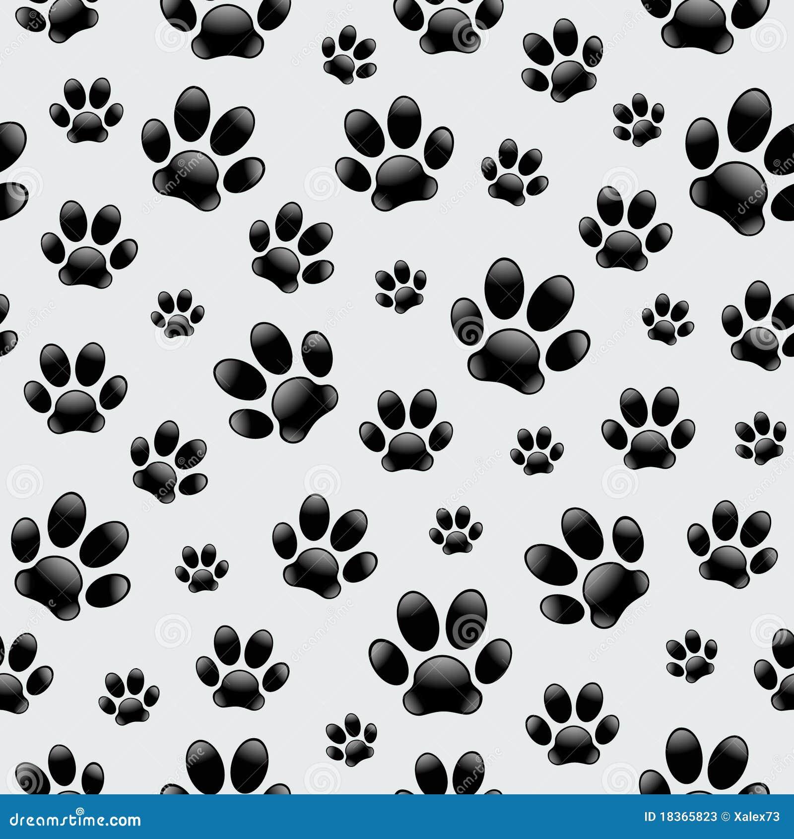 Dog 39 S Footprints Seamless Pattern Stock Vector