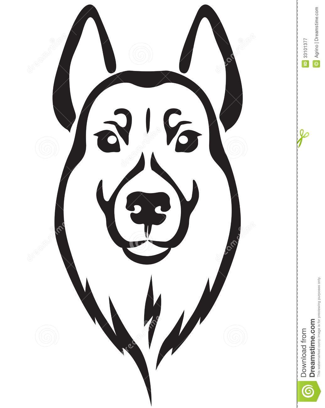 Line Drawing Of A Dog S Face : Dog s head stock vector image of nature line barks