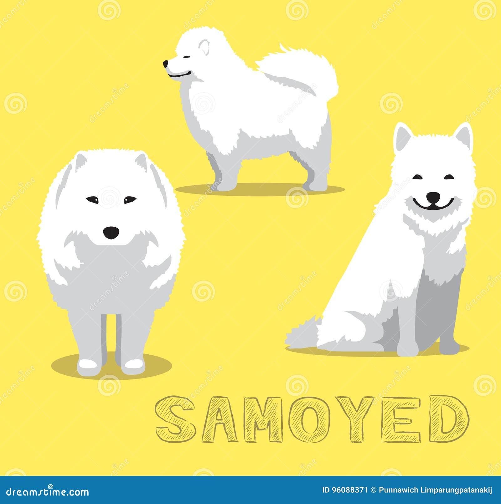 Dog Samoyed Cartoon Vector Illustration Stock Vector Illustration Of Siberia Cute 96088371
