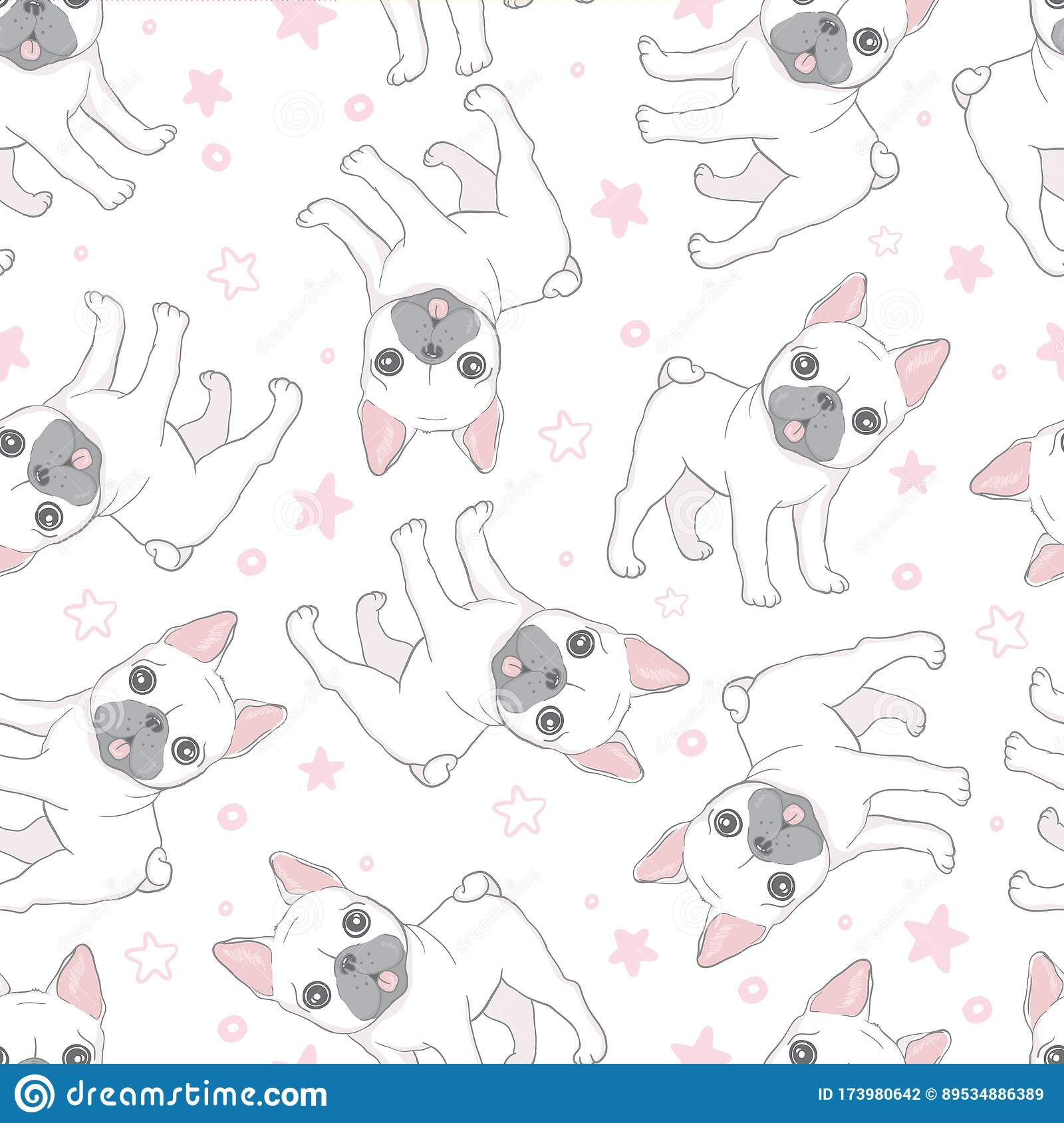 Dog Seamless Pattern French Bulldog Paw Vector Repeat Background Tile Cartoon Wallpaper Isolated Black Stock Vector Illustration Of Dachshund Doodle 173980642