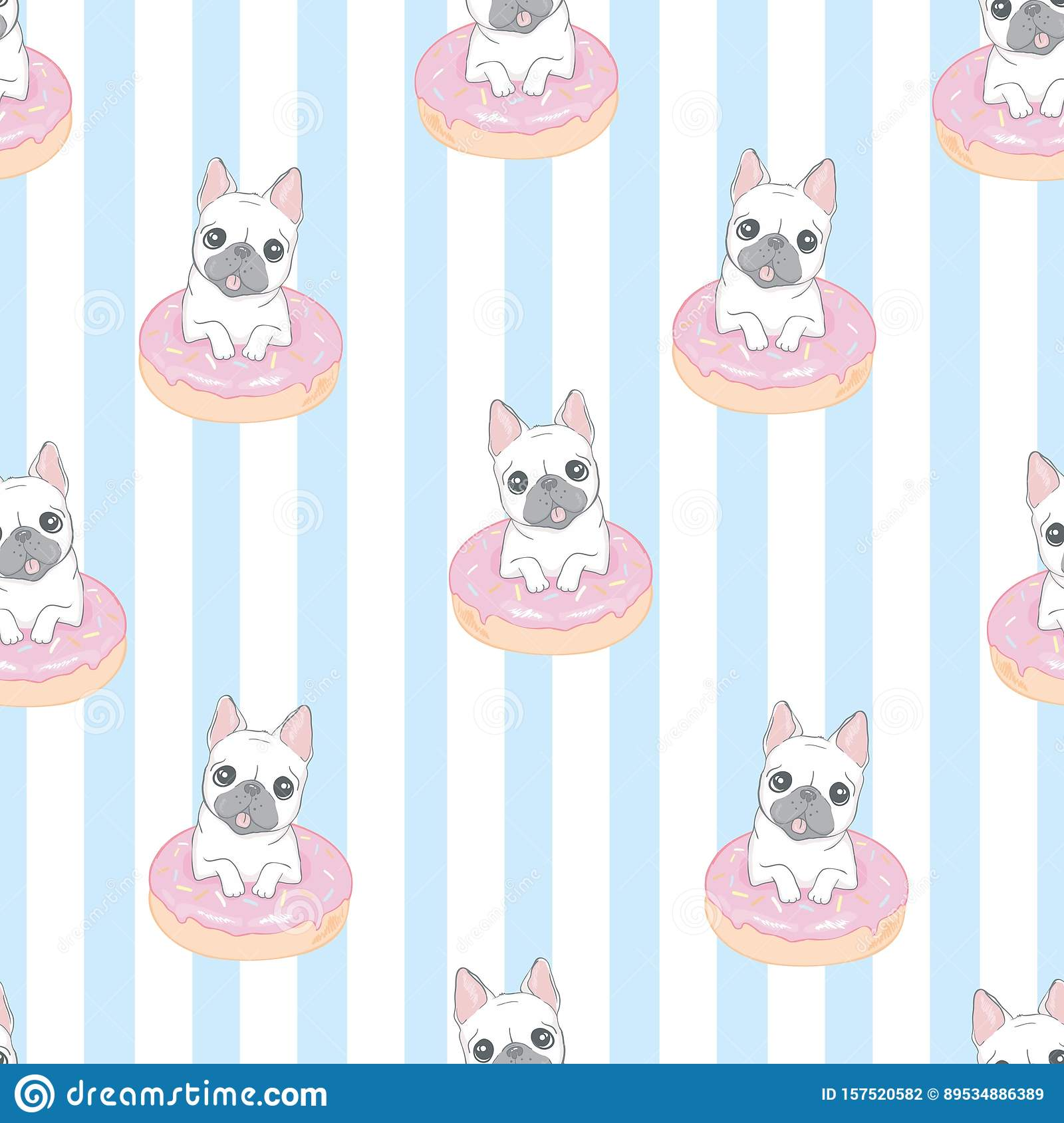 Dog Seamless Pattern French Bulldog Paw Vector Repeat Background Tile Cartoon Wallpaper Isolated Black Stock Vector Illustration Of Doodle Repeat 157520582