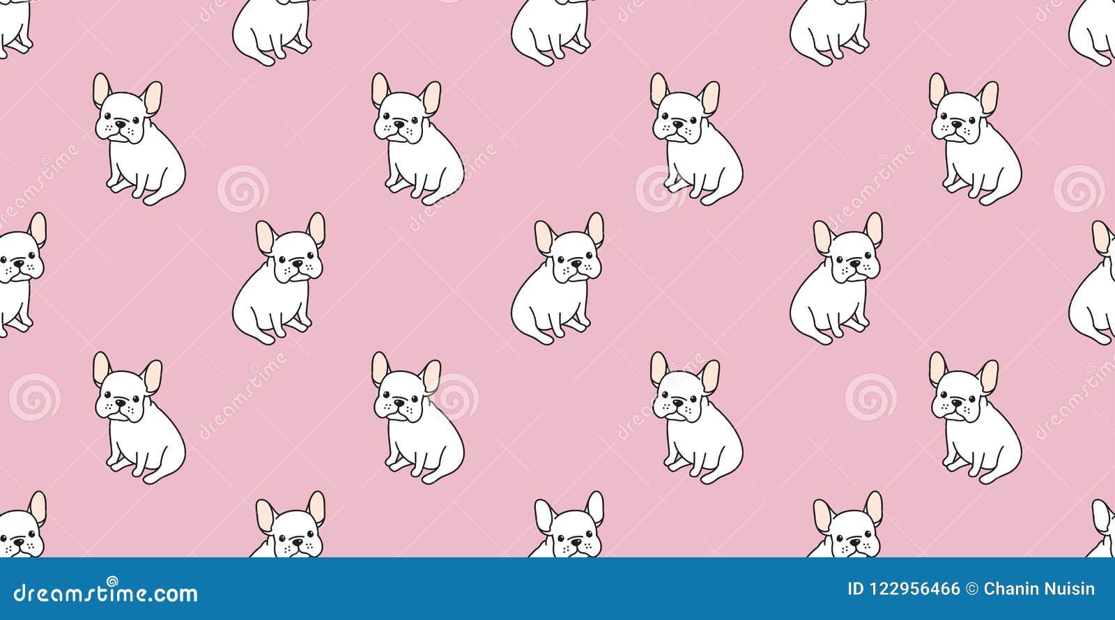 Dog Seamless Pattern French Bulldog Pug Sit Isolated