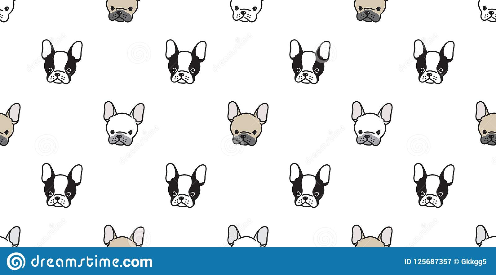 Dog seamless pattern french bulldog vector isolated pug wallpaper background