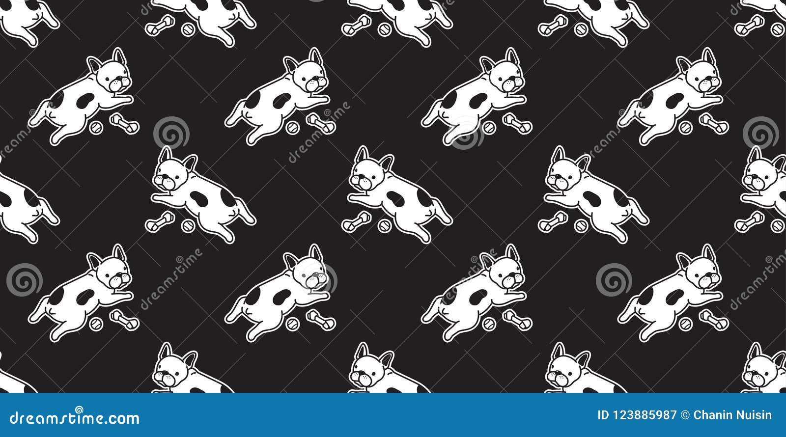 Dog Seamless Pattern French Bulldog Vector Isolated Wallpaper Background Doodle Cartoon Black Stock Illustration Illustration Of Corgi Backdrop 123885987