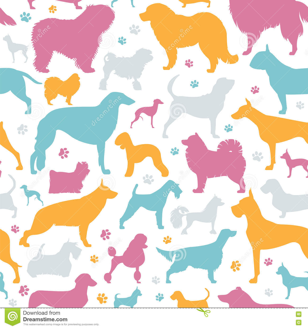 Dog Seamless Pattern Heatlh Care Vet Nutrition Exhibition Stock