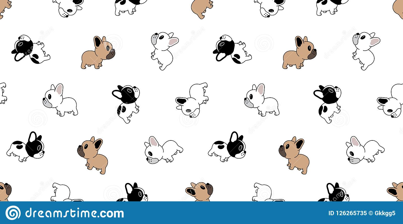 seamless pattern vector french bulldog