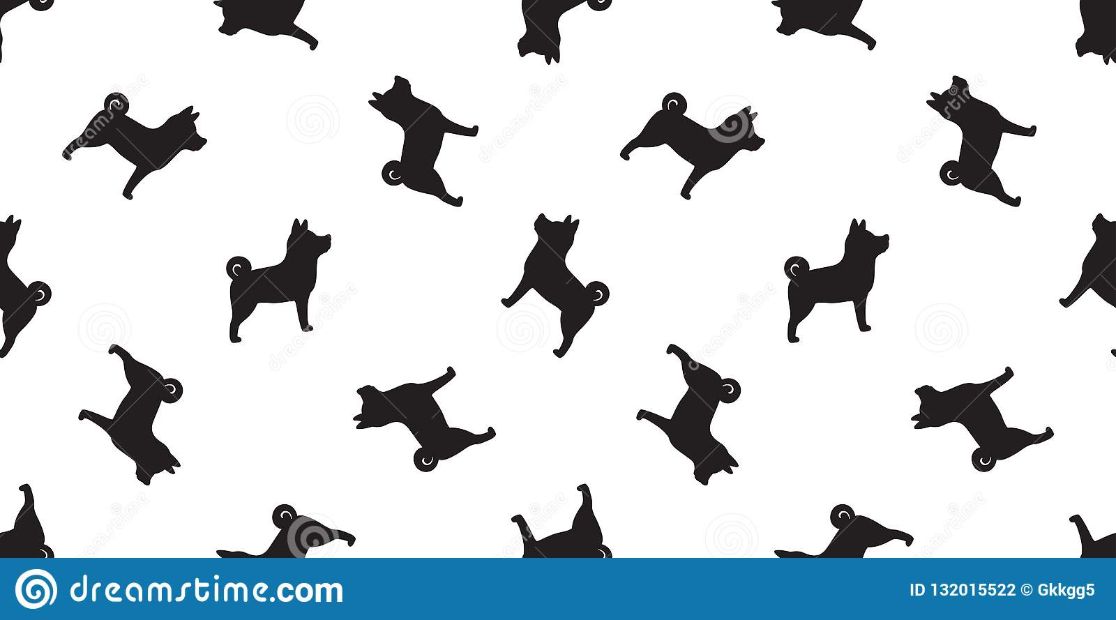 Dog Seamless Pattern Vector Isolated Paw Shiba Inu Dog Breed Wallpaper Cartoon Tile Background Stock Illustration Illustration Of French Bulldog 132015522