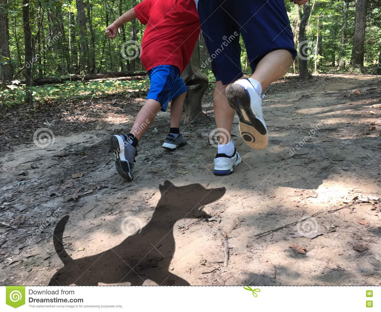 Dog shadow chasing father and son