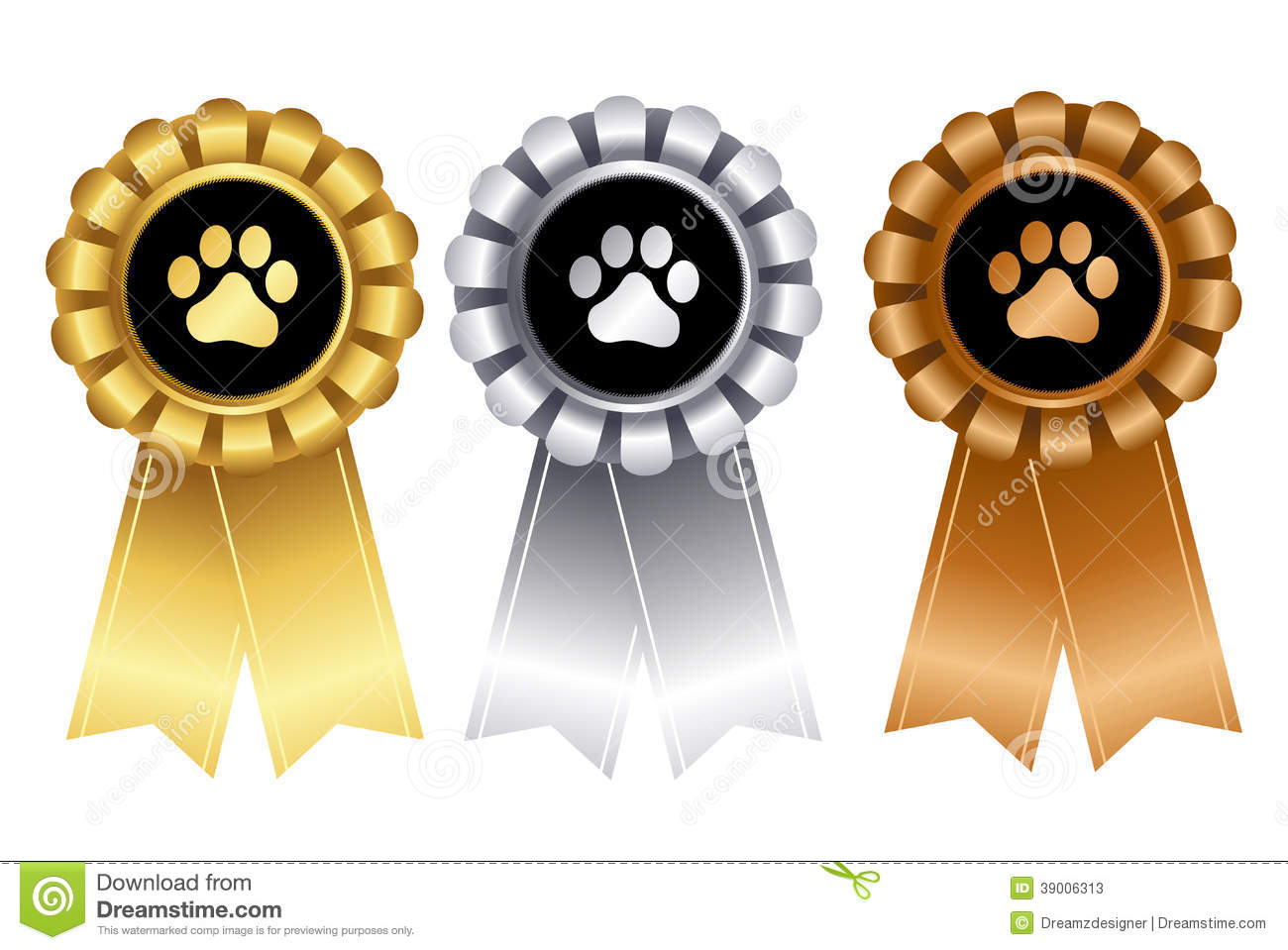 Golden / silver and bronze dog award ribbon rosettes for 1st, 2nd, and ...