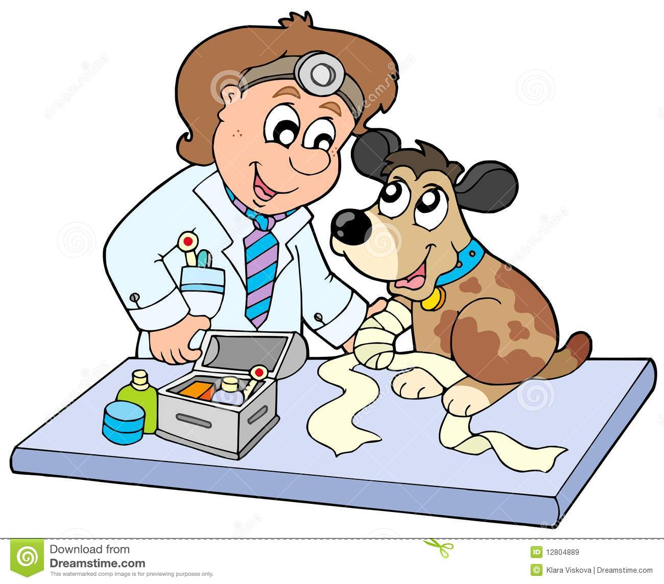 Dog With Sick Paw At Veterinarian Stock Vector ...