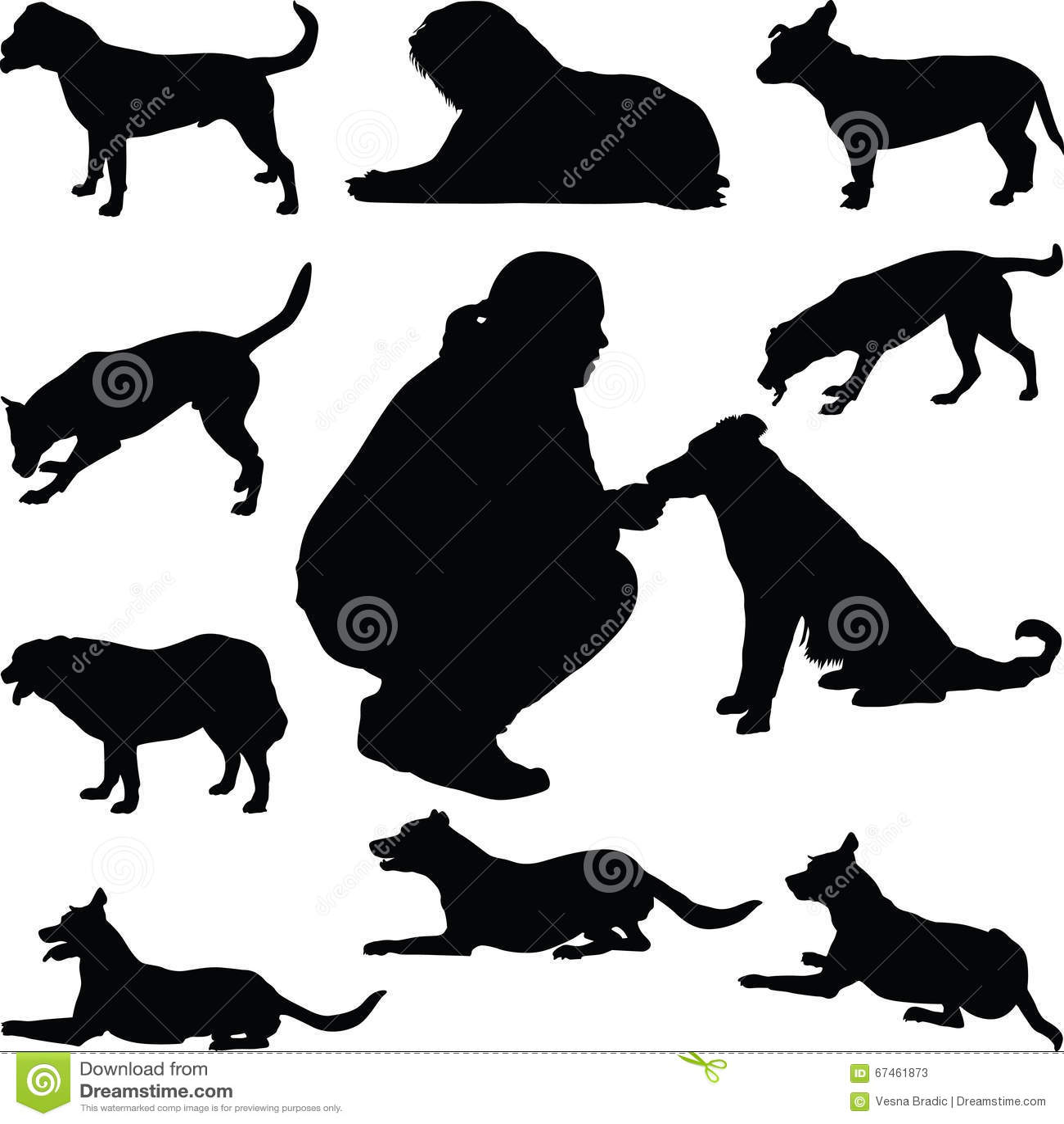 Staffordshire Bull Terrier Dog Silhouette Cartoon Vector