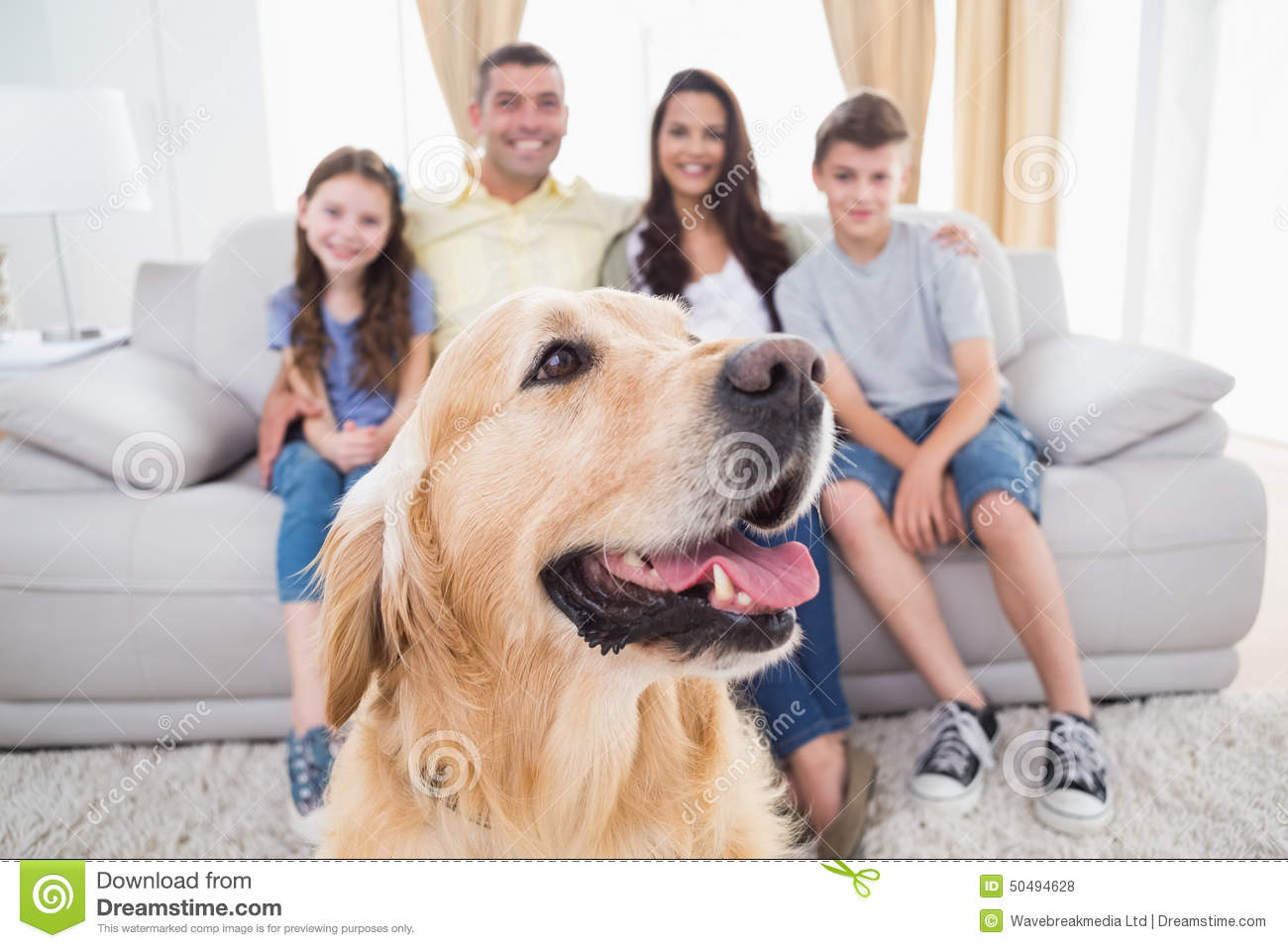 dog sitting with family at home stock photo image 50494628 With at home dog sitting
