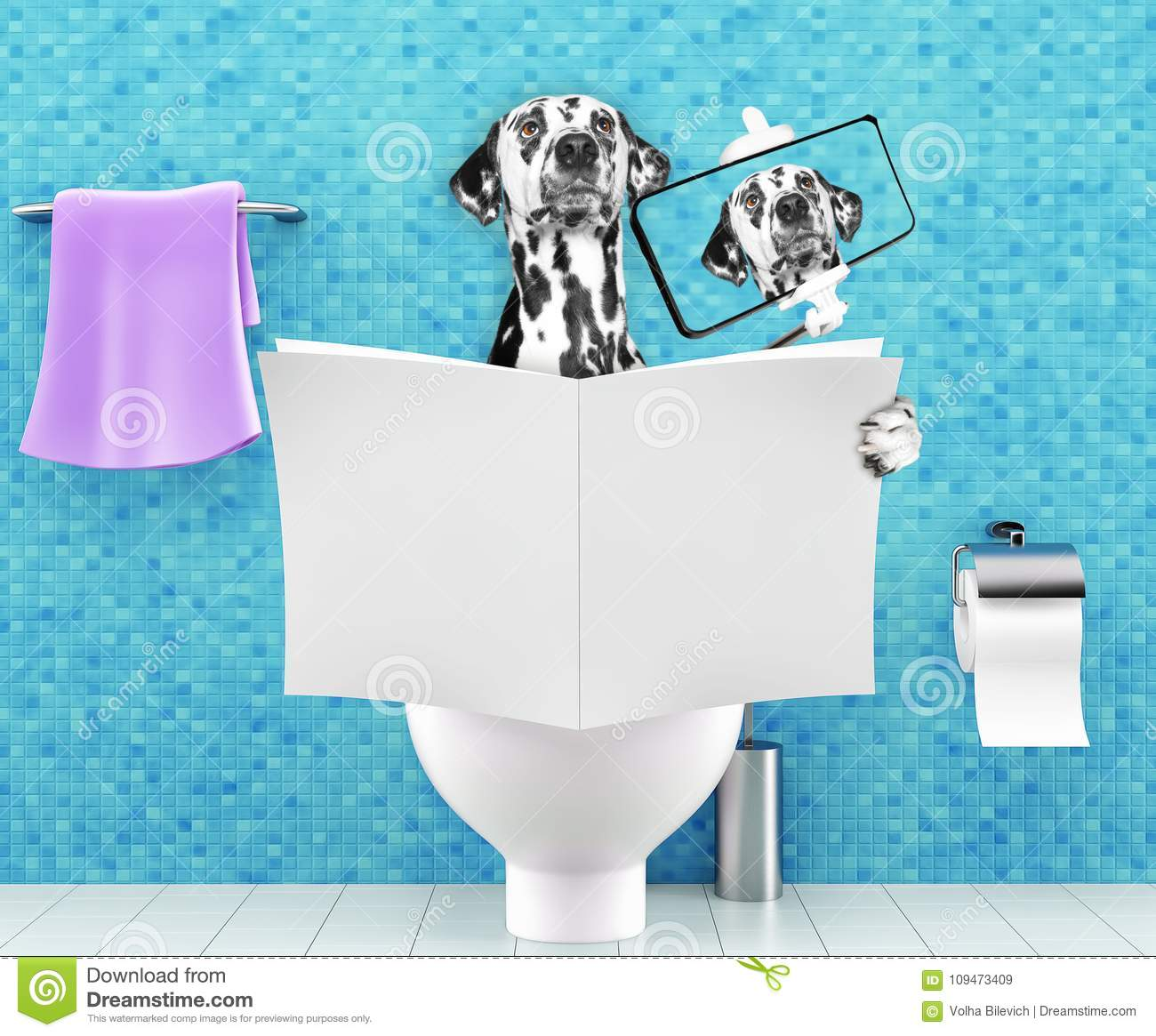 Dog sitting on a toilet seat with digestion problems or constipation reading magazine or newspaper and making selfie