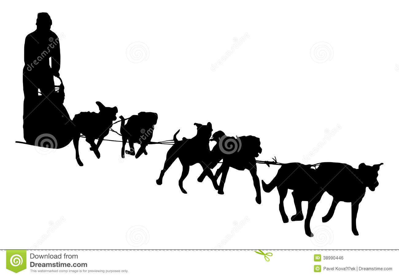 dog sled silhouette on a white background stock illustration rh dreamstime com dog sled clipart dog sled racing clipart