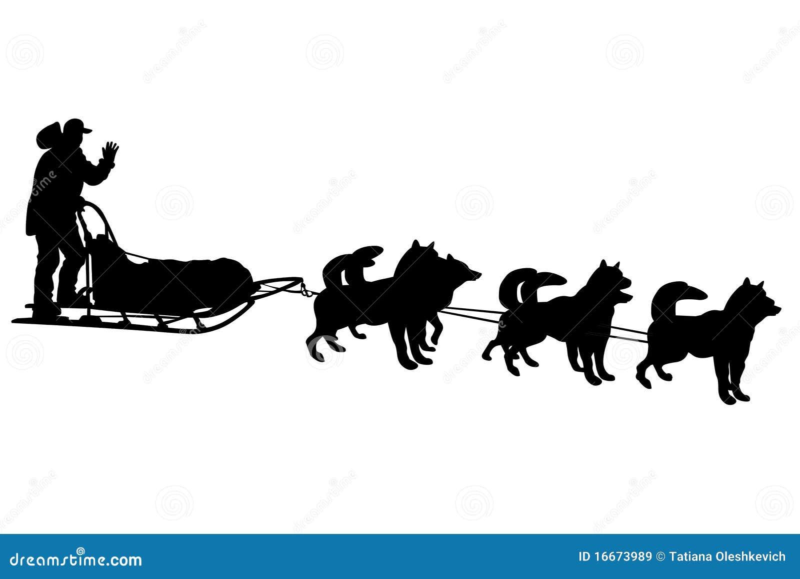 Dog Sled Silhouettes Royalty Free Stock Images - Image: 16673989