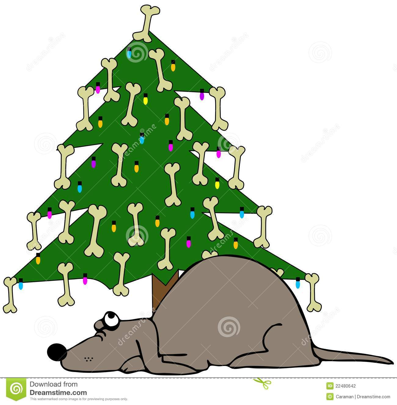 Dog Sleeping Under A Christmas Tree Stock Illustration ...