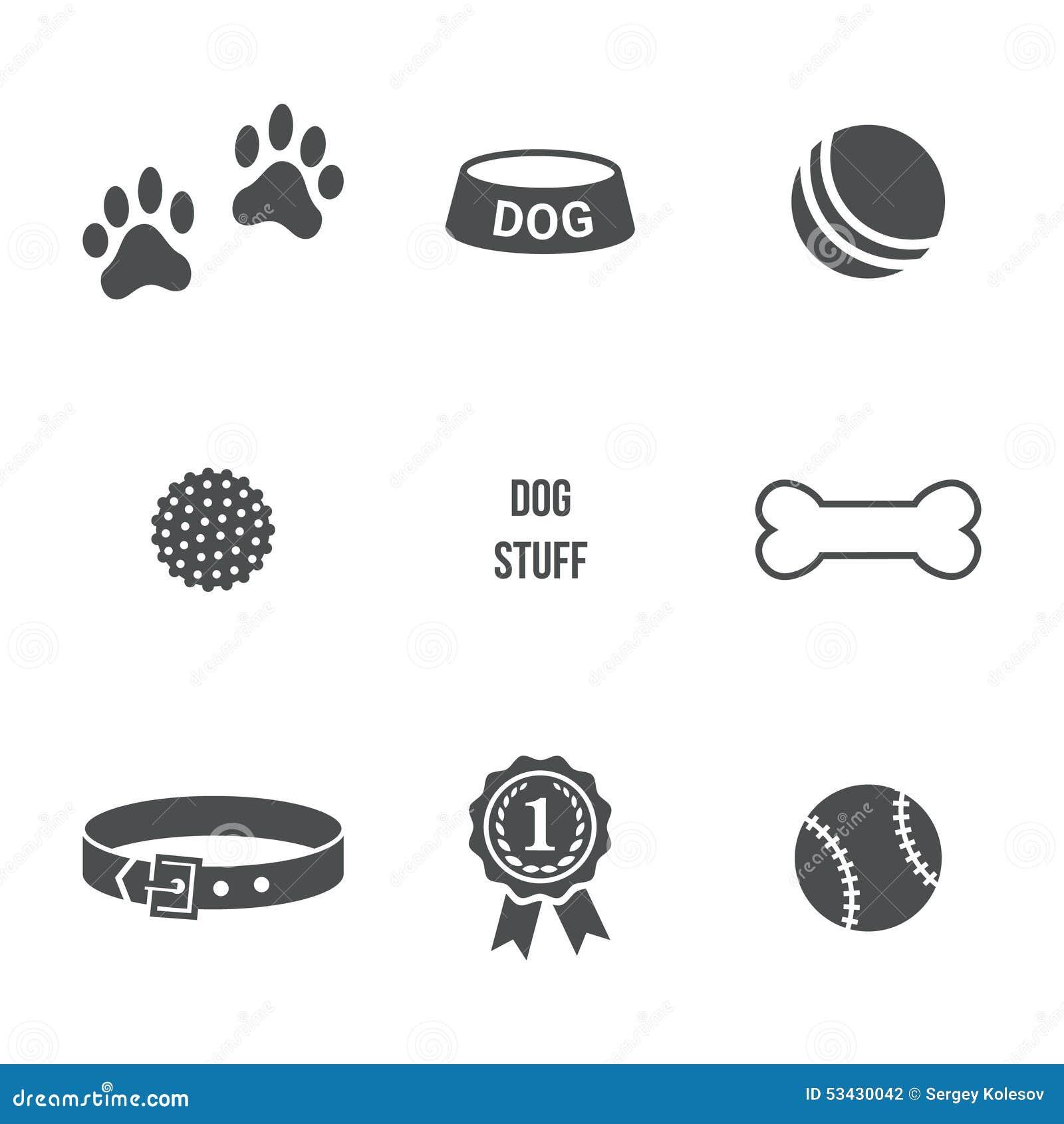 dog stuff set stock vector image 53430042