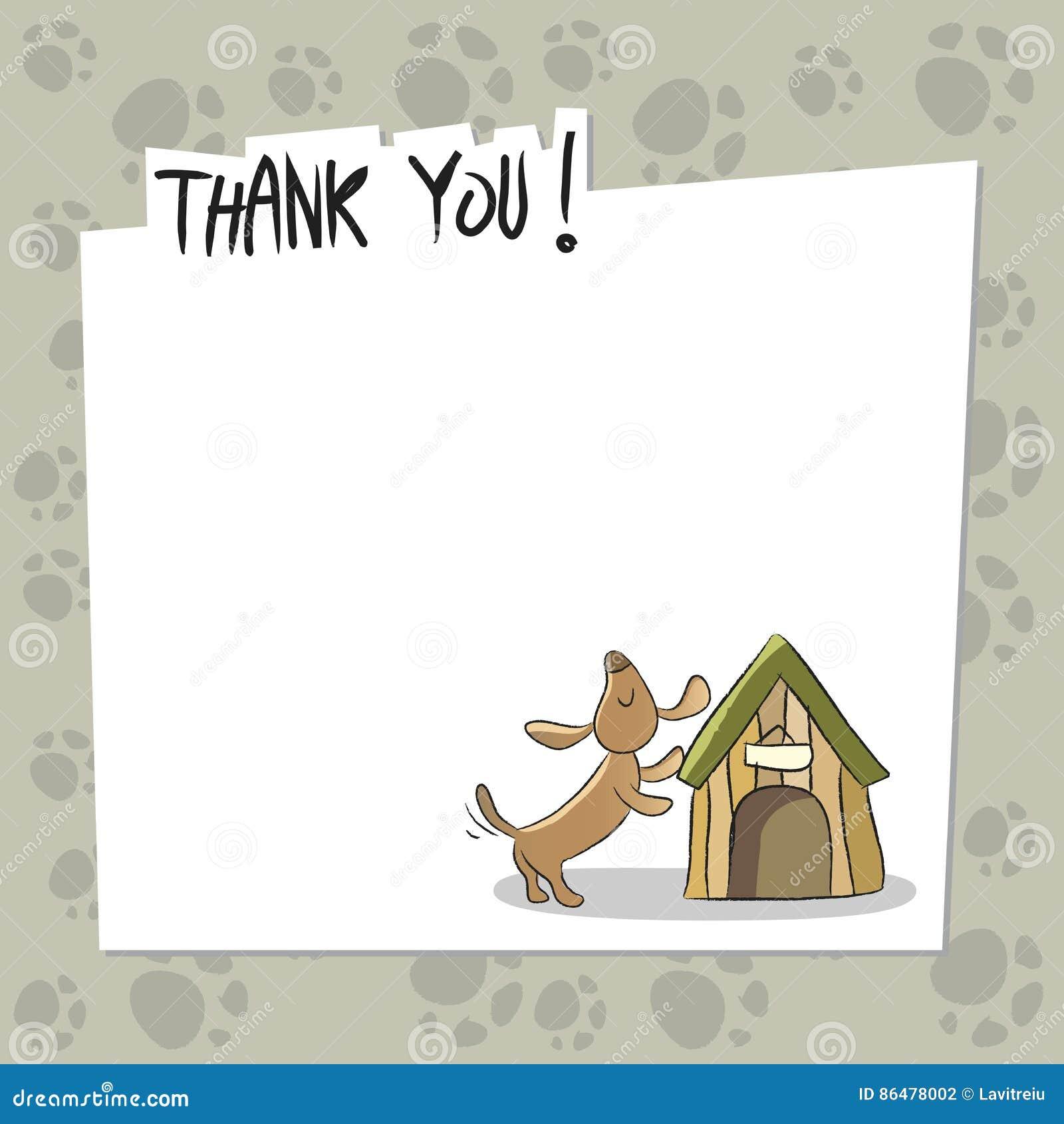 Dog Thank You Card Stock Vector Illustration Of Appreciation 86478002