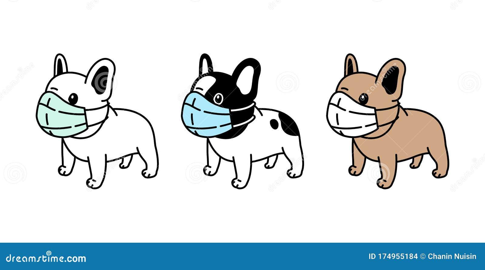 Dog Vector Face Mask Covid 19 French Bulldog Coronavirus Virus Pm